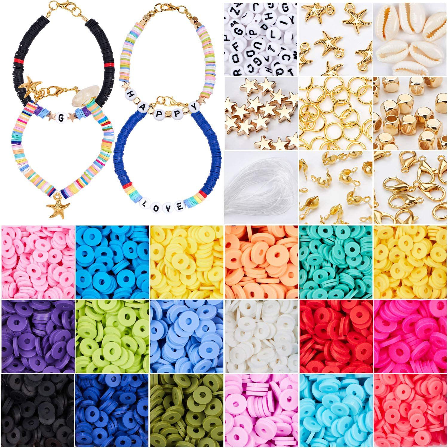 Plastic Boxes Jewelry Findings Tool Accessories Set Polymer 6mm Flat Clay Spacer Bead for Ankle Bracelet Necklace DIY Making Kit