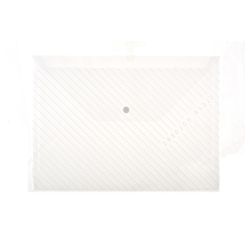 Hot sale clear transparent A4 size document file folder with snap button envelope folder