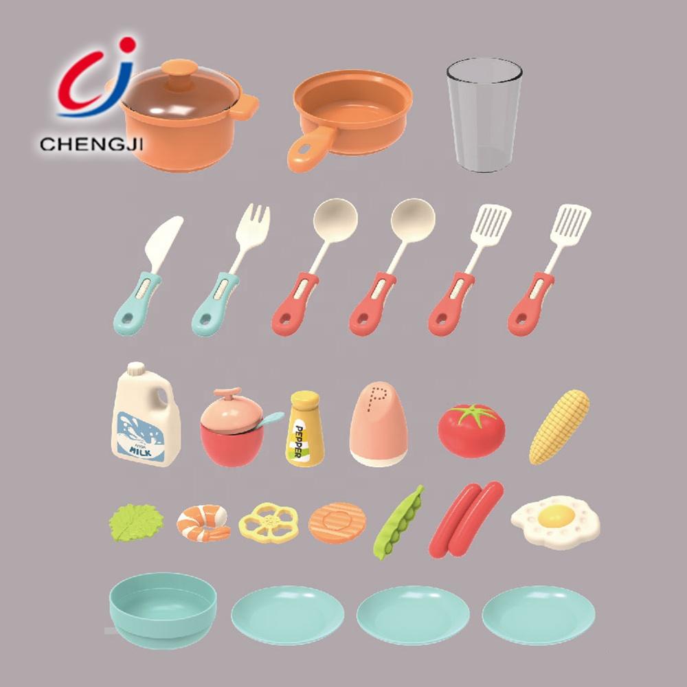 Plastic pretend play cooking children food tableware kids kitchen toys set