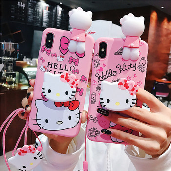 For iPhone 11 Pro Max 12 Pro Xs X 7 8 Mobile Phone case Cartoon 3D Funny Sesame Street Hello Kitty Doll Strap Holder Stand Case