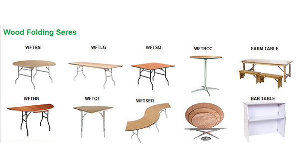 Banquet wood round 8ft folding table