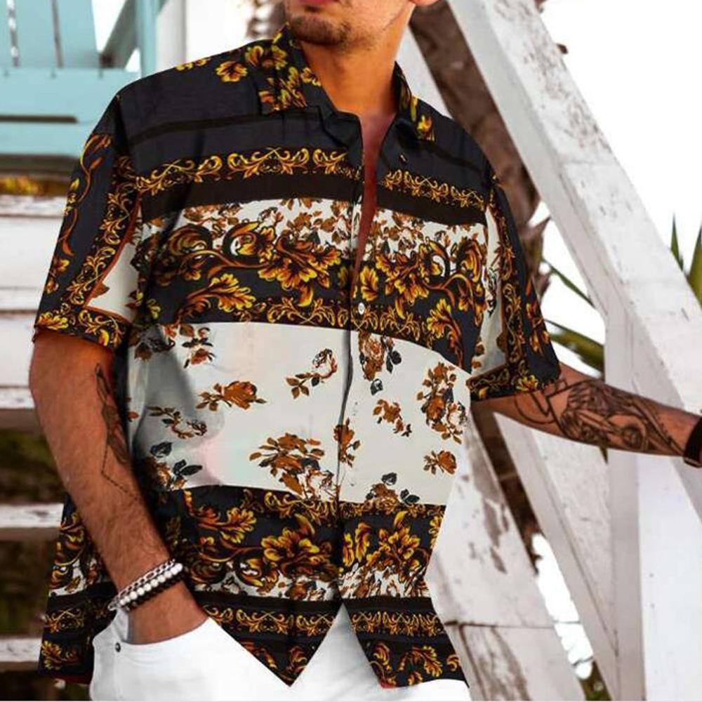 Summer Men Shirts Printed Colorful Casual Blouse Hawaiian shirt Male Tops Summer Geometric Plus Size Shirts camisa