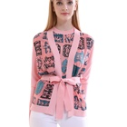 Lace Tops Women's Silklace Spring 2020 Fashion 100% Silk Knitting Pink Print Lace Up Cardigans Casual Constellation Long Sleeve Tops Women's Elegant Coat