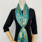 100% Silk New design women's blue super soft stain silk scarf long size for elegance women