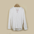 Ladies' Blouse Ladies' Chiffon Long Sleeve Blouse With Neck Slit