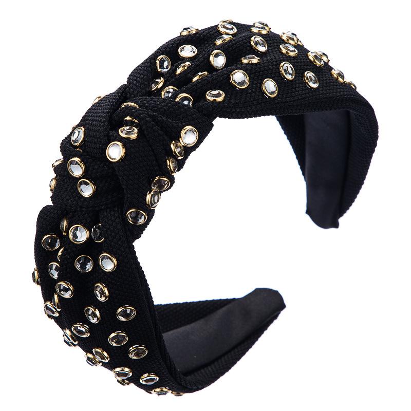 Contracted Cloth Vogue Knots Rhinestone Hair Hoop Fair Maiden 4cm Wide Edge Crosses High Grade Resin Hair Ornaments Headband