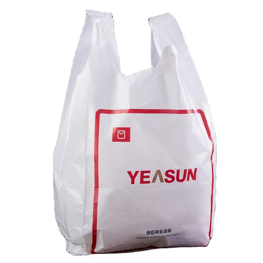 Bakkal endüstriyel kullanım yelek kolu bakkal plastik baskılı t shirt plastik poşetler