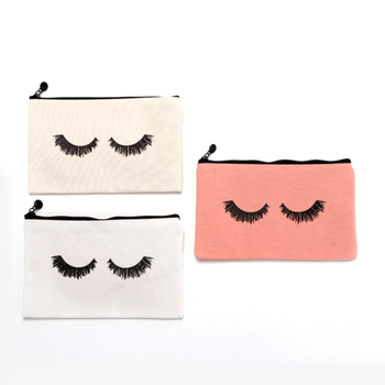 Custom Logo Eco Friendly Pink Cosmet bag Canvas Cotton Polyester Zipper Eyelash Cosmetic Make Up Pouch Bag