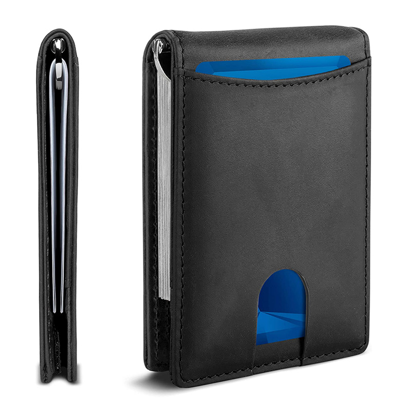 Factory Sale RFID Blocking Full Grain Slim Bifold Genuine Leather Front Pocket Wallet with money clip