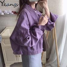 Женская джинсовая куртка с потертостями, повседневная короткая джинсовая куртка оверсайз фиолетового цвета, блейзер для девушек(Китай)