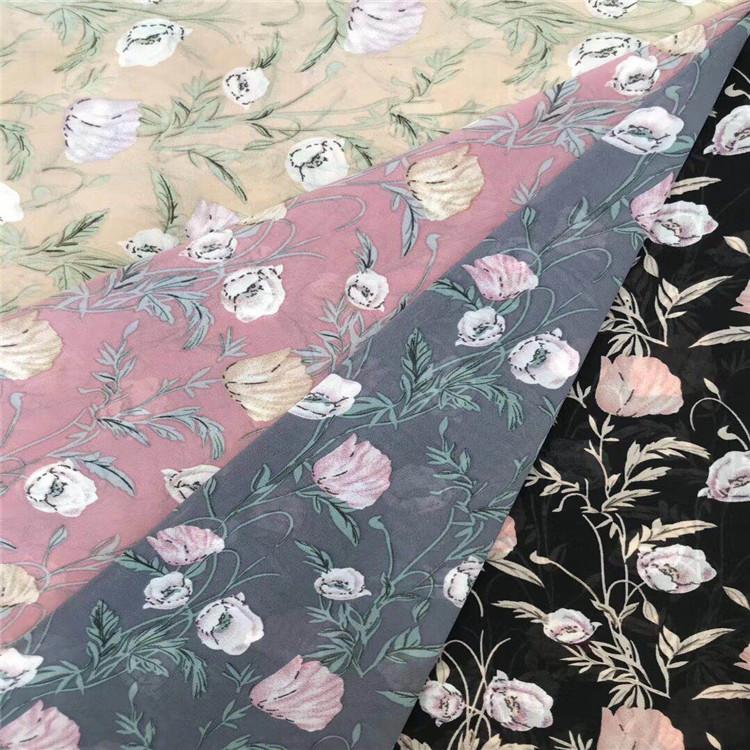 wholesale custom flower design polyester chiffon print fabric for dress