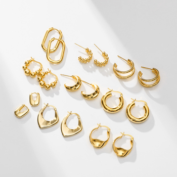 INS Hot Unique Small Big Huggie Dangle Gold Hoop Earrings For Women Real gold plated 925 sterling silver hoop Earrings