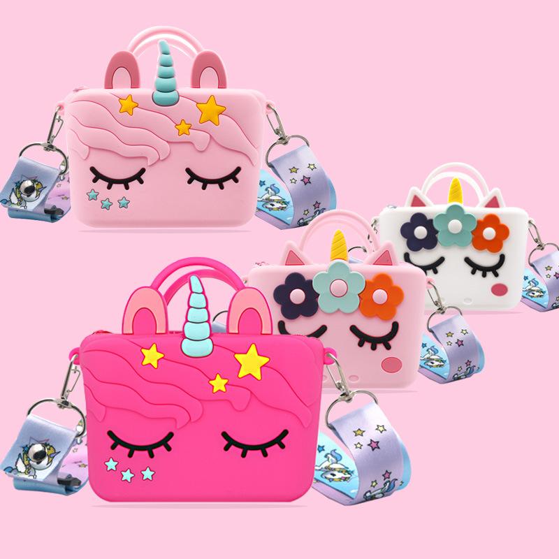 Новинка 2021, маленькая сумка через плечо с 3D единорогом, модный клатч, сумка-тоут, мультяшный Единорог, детские мини-кошельки через плечо с мультяшным рисунком