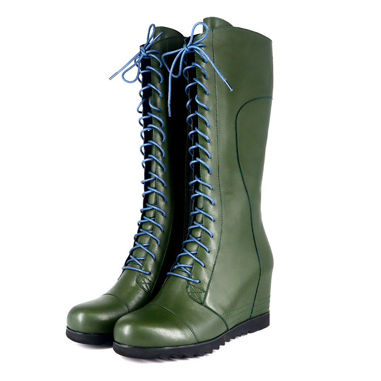 Wadge Boots Women Designer Winter Shoes Boot High Heel Wedge Green Lace up Lady Mid Calf Boots