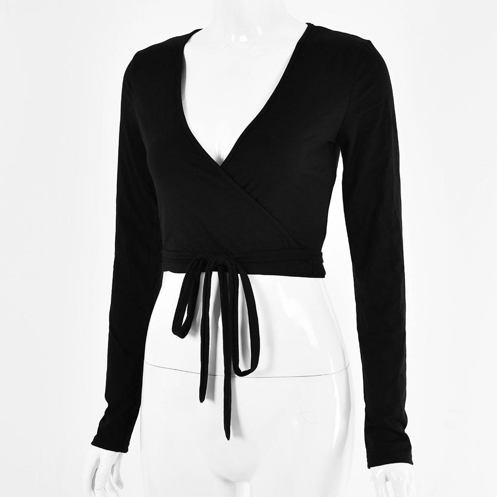 2021 New Sexy Long Sleeve Shirts Women's Deep V Neck Long Sleeve Bandage Cross Wrap Tie up Crop Top