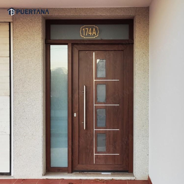 Тепловой пробой алюминия двойной входа шторма и распашные стеклянные створчатая дверь с закаленным стеклом дизайн