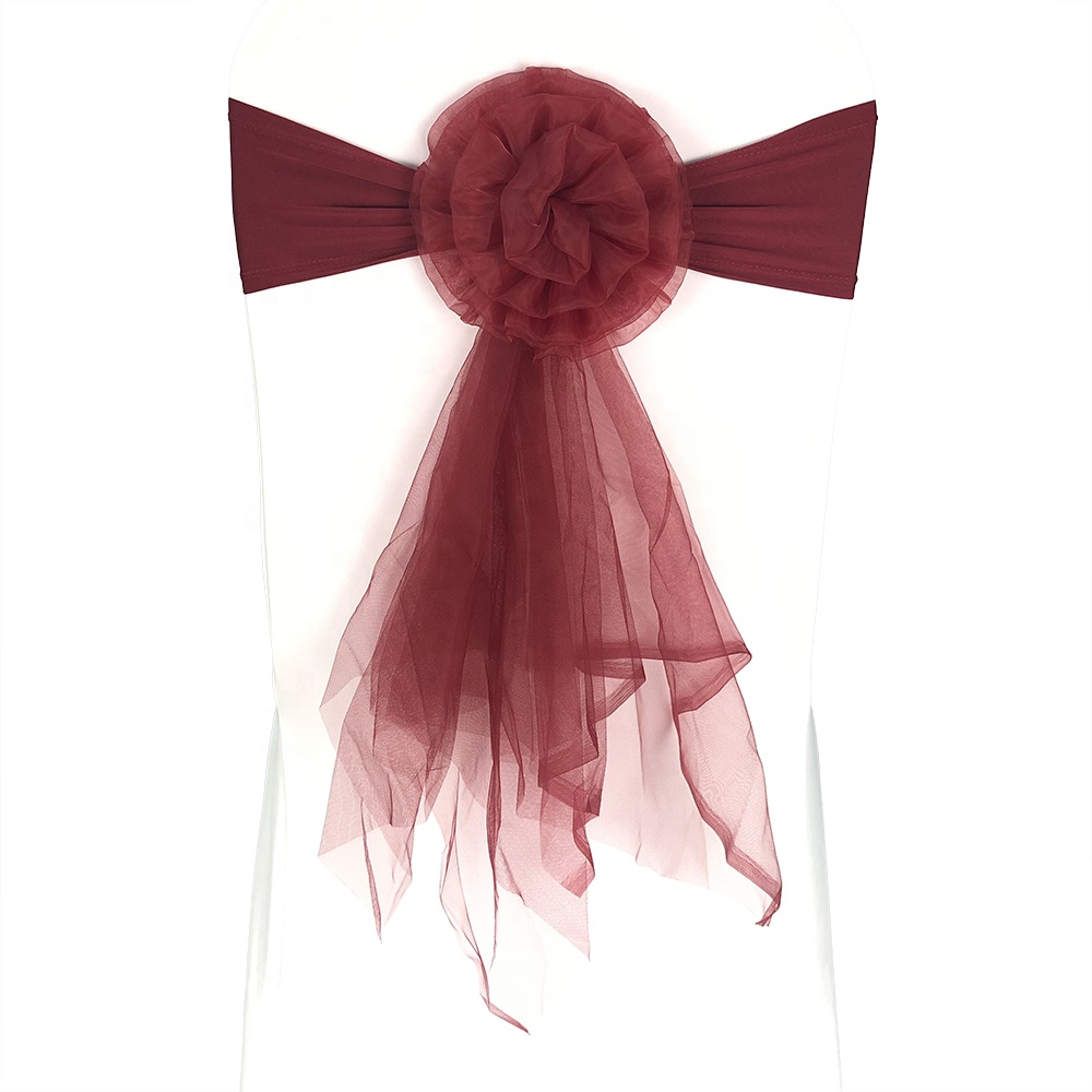 Beautiful new flower tull spandex wedding chair sash