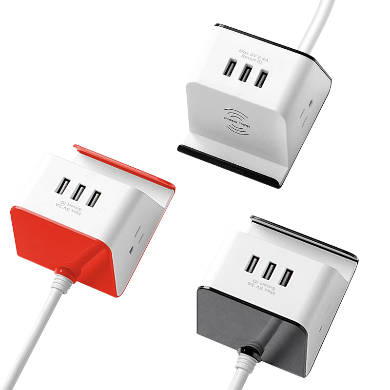 US Portable socket outlet usa surge protector power strip with wireless charger and phone holder