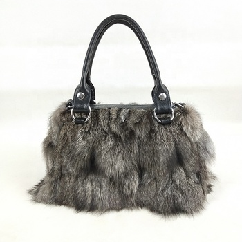China factory wholesale Luxury Design Real red fox bag ladies fashion bags fashionable fox fur bag