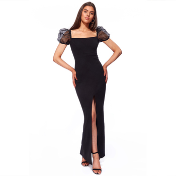 OEM Luxury Women Elegant Styles Slit long cocktail dresses for evening Elegant black cocktail dress For Ladies