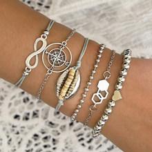 Женские многослойные браслеты Yobest BOHO с пайетками, золотистые кружевные браслеты-цепочки со спутниковой антенной(Китай)