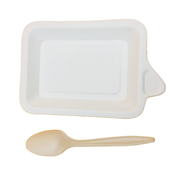 Safe And Biodegradable Bagasse White Color Cake Plate With Handle