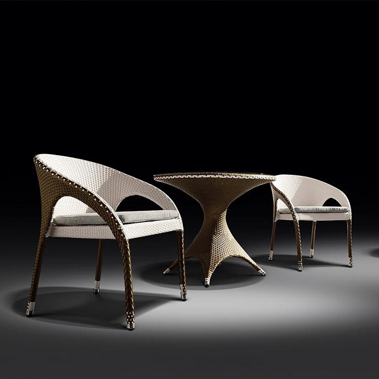 Уличный садовый стол и стул для кафе, Плетеный французский уличный стул из ротанга