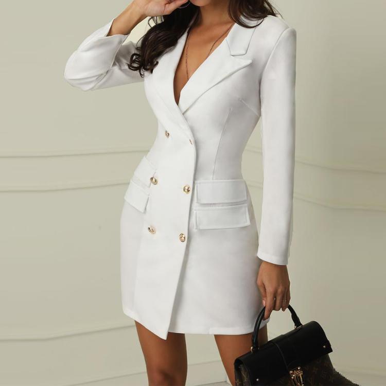 Новый стильный осенний модный офисный блейзер с V-образным вырезом облегающее платье с длинным рукавом
