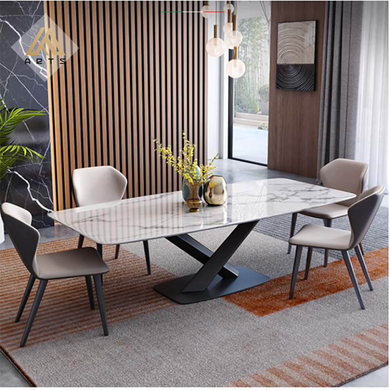 China Factory Wholesale Luxury Marble Dining Table Sintered Stone Top With Iron Table Legs Rectangular Dining Table Buy Dining Tables Modern Dining Tables Dining Table Sets Product On Alibaba Com