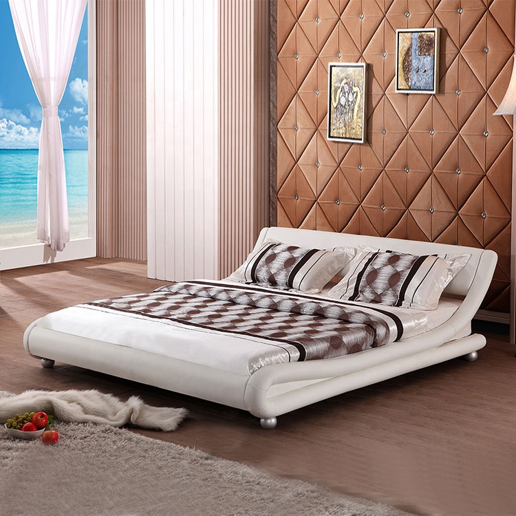 modern simple pu leather bed optional colour Nordic soft backrest furniture queen double soft bed