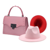 Pink hat and purse set