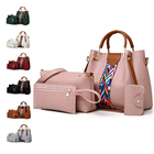 2021 Ladies Fashion Leather Tote 4 In 1 Handbag Set Women Hand Bag Sets 4 Pieces Purse And Wallet Set