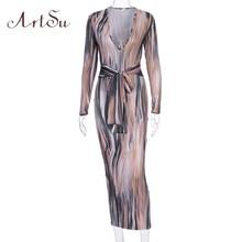 ArtSu, сексуальные платья макси с глубоким v-образным вырезом, женское облегающее длинное платье с длинным рукавом, новая одежда ASDR60581(Китай)