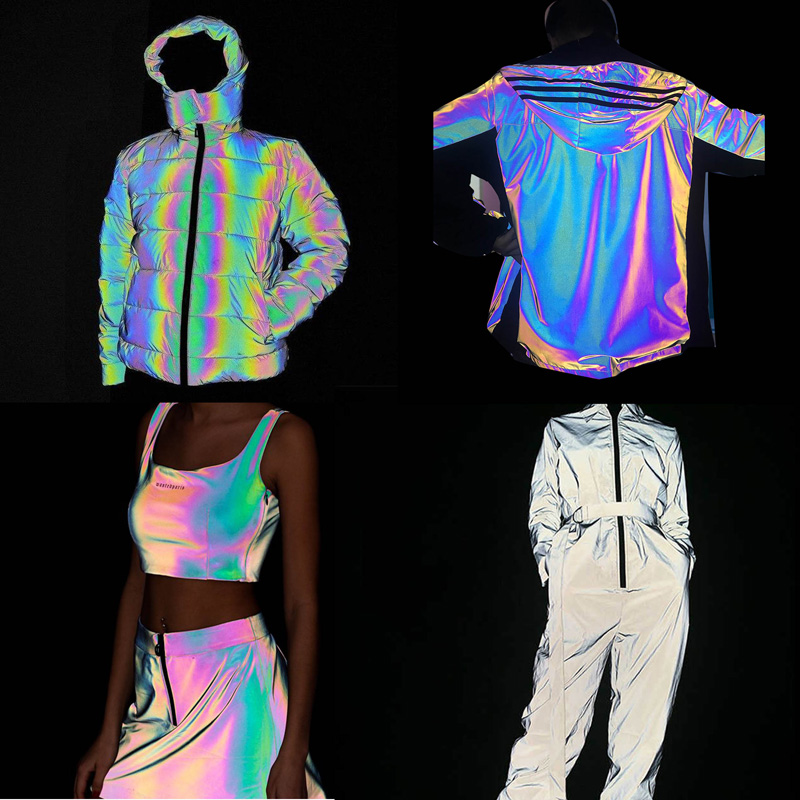Custom Printing Iridescent Rainbow Polyester Reflective spandex fabric for fashion clothes jacket material