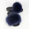 navy lady fur slipper