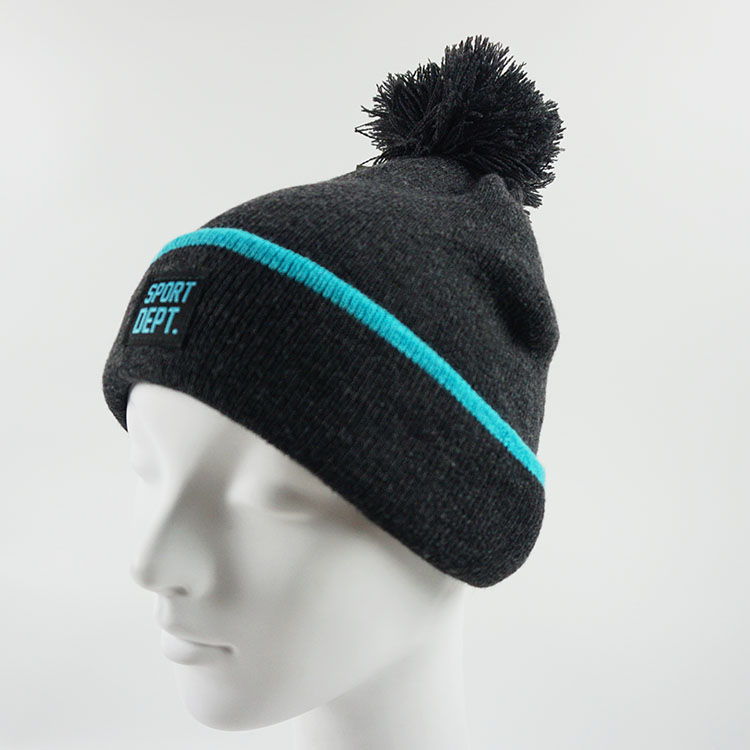 Wholesale China Sport Grey 100% Acrylic Men Winter Heavy Knitted Hats Winter ski beanie