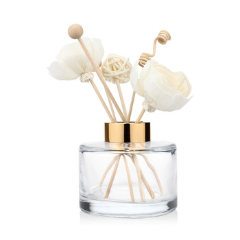 Decorative 200ml Aromatherapy Bottle Round Shaped Clear Reed Car Room Diffuser Glass Bottle with Cap