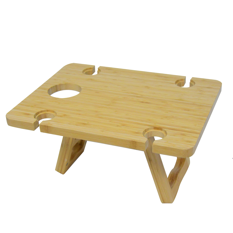 Поднос для сервировки еды на открытом воздухе, портативный деревянный стол для пикника и вина со складными ножками
