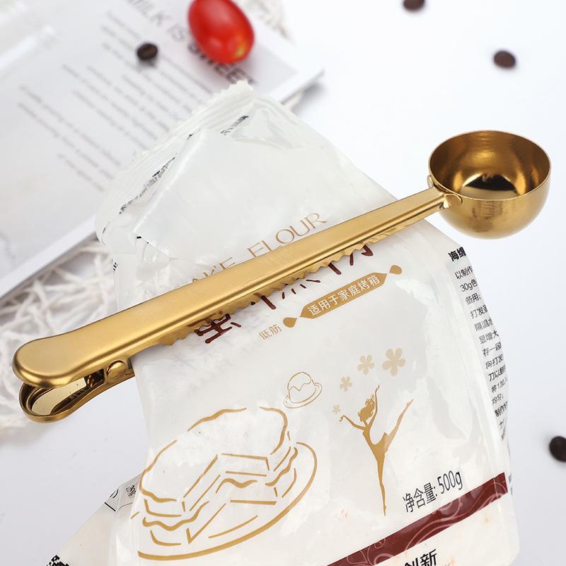 Оптовая продажа, мерная ложка для кофе из нержавеющей стали с зажимом