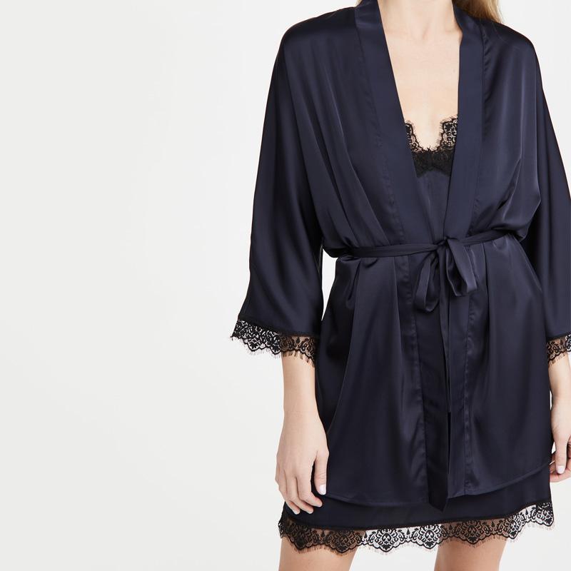 Лидер продаж, OEM кружевной комплект из двух предметов, Шелковый Атласный халат, женская одежда для сна