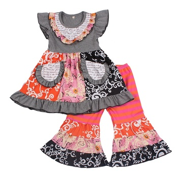 New 2020 kids baby clothes set 8 years girls design two set dresses matches bell bottom pants popular fashion design clothing