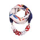 Stock Women's Classic Style Chiffon Necklace Sash Scarf with Jewelry Pendant