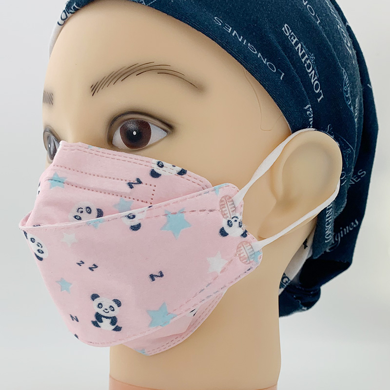 Kids printed pink FFP2 disposable protective fish shape face mask for girl children student face cov(图3)