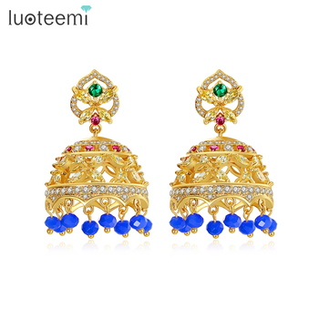 LUOTEEMI Fashion Earrings for Women Big Dangle Jhumka Indian Earrings Vintage Drop Earring Lantern Tassel Palace