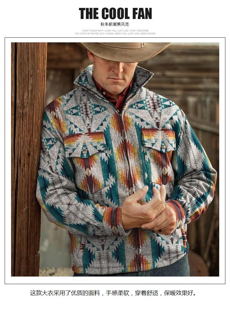 Мужская повседневная куртка в стиле ретро с этническим принтом, пальто в ацтекском стиле, 2021