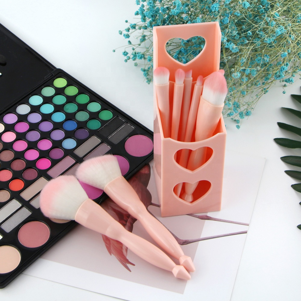 Super Soft Synthetic Hair 8pcs make up brushes With Holder Custom Cosmetic Pink Makeup Brush Set