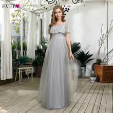 Элегантное серое платье подружки невесты Ever Pretty A-Line оборки v-образный вырез вышивка блестками Тюль Свадебные Вечерние платья халат Longue 2020(Китай)