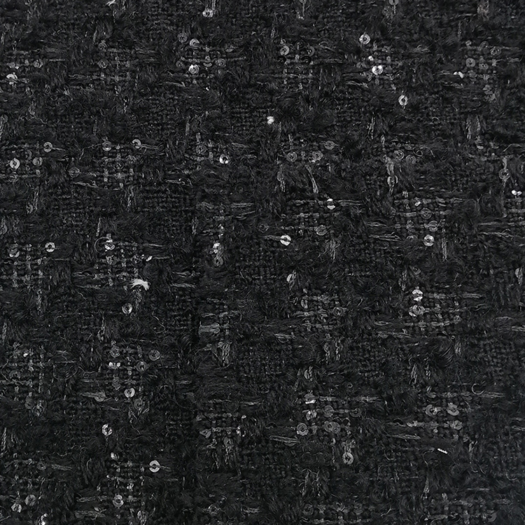 Classic Style Wool Acrylic Blended Sequin Fabric for Overcoat