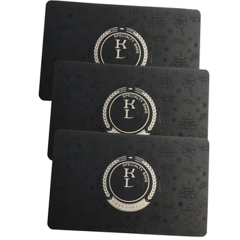 Embossed Printed Metal Business Card Club Card Black PVC Business Cards