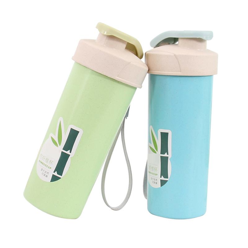 도매 대나무 섬유 플라스틱 피트니스 단백질 셰이커 병 셰이커 컵